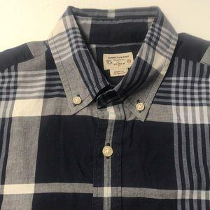 J. CREW Summer Plaid Blue Oxford Shirt Mens Small